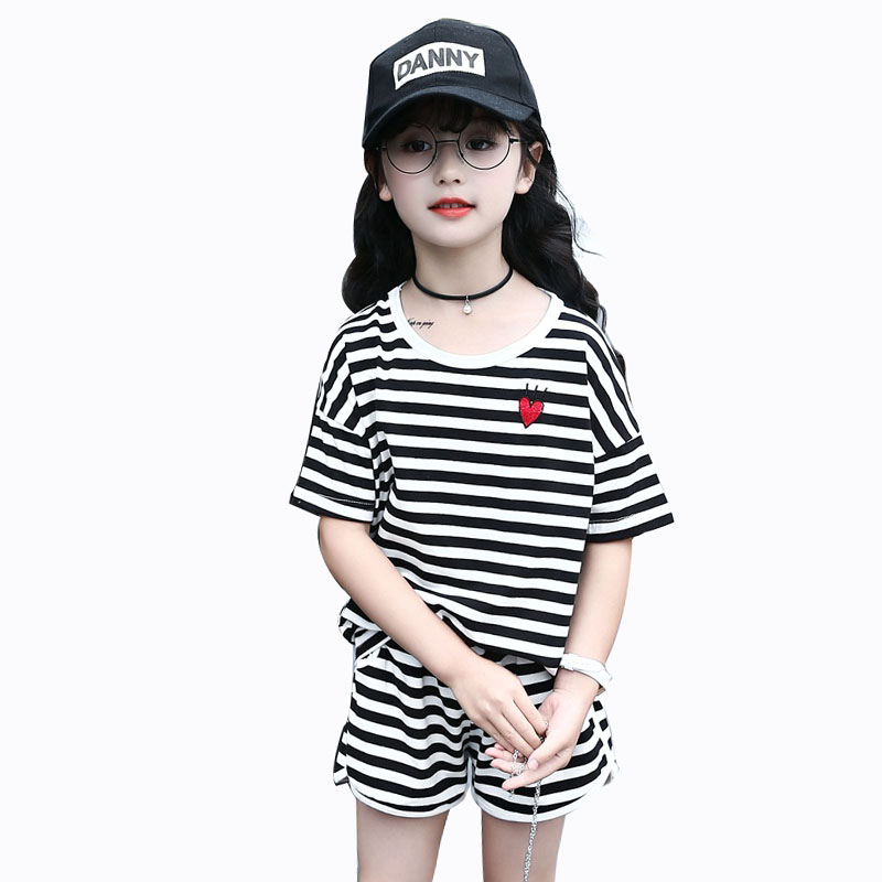 Summer Girls Clothing Striped Set Girls Cartoon Suit 2018 Kids 2Pcs Sport Suit Tshirt+Pants Children Clothes  4 6 8 10 12 Years new fashion girls clothing kids clothes summer style sleeveless tops pants 2 pcs casual children suit 3 4 5 6 7 years