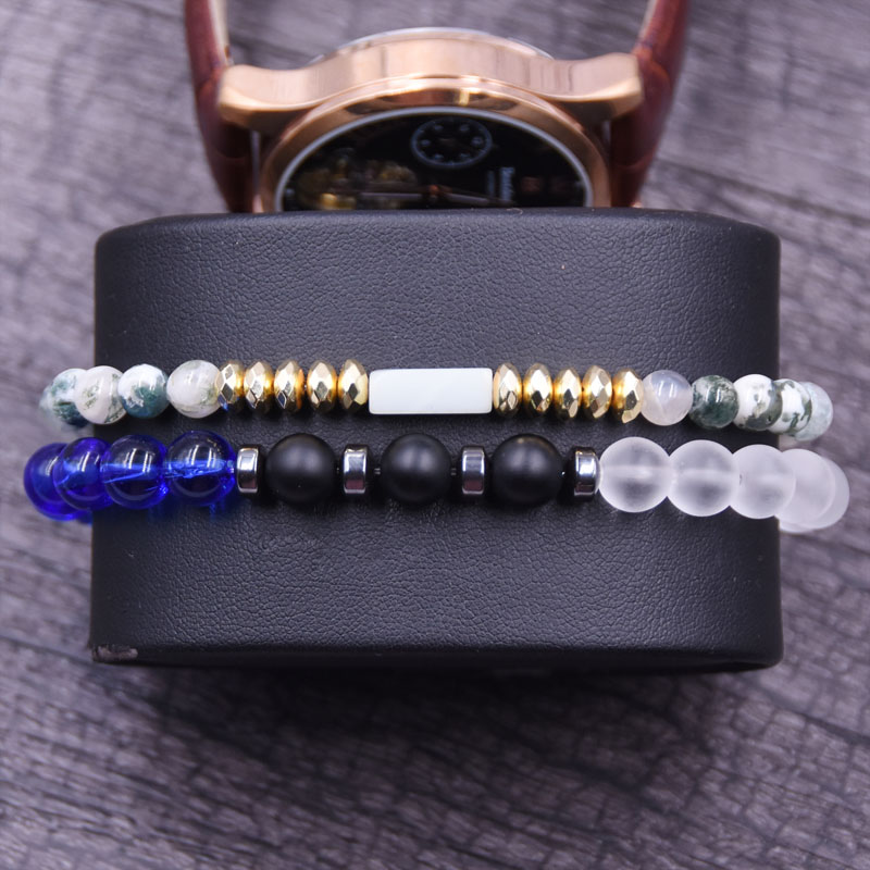 KANGKANG 2019 classic Jewelry 2 pieces set 6mm 8mm natura Stone bead Bracelets For Men Women Trend Jewelry Bijoux in Strand Bracelets from Jewelry Accessories