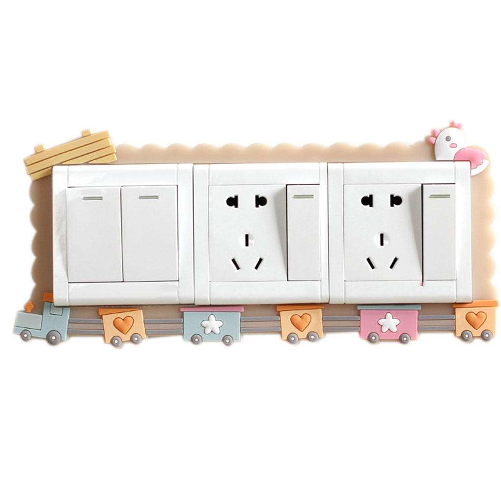 Animal Cartoon Room Decor 3D Wall Silicone On-off Switch Luminous Light Switch Outlet Wall Sticker