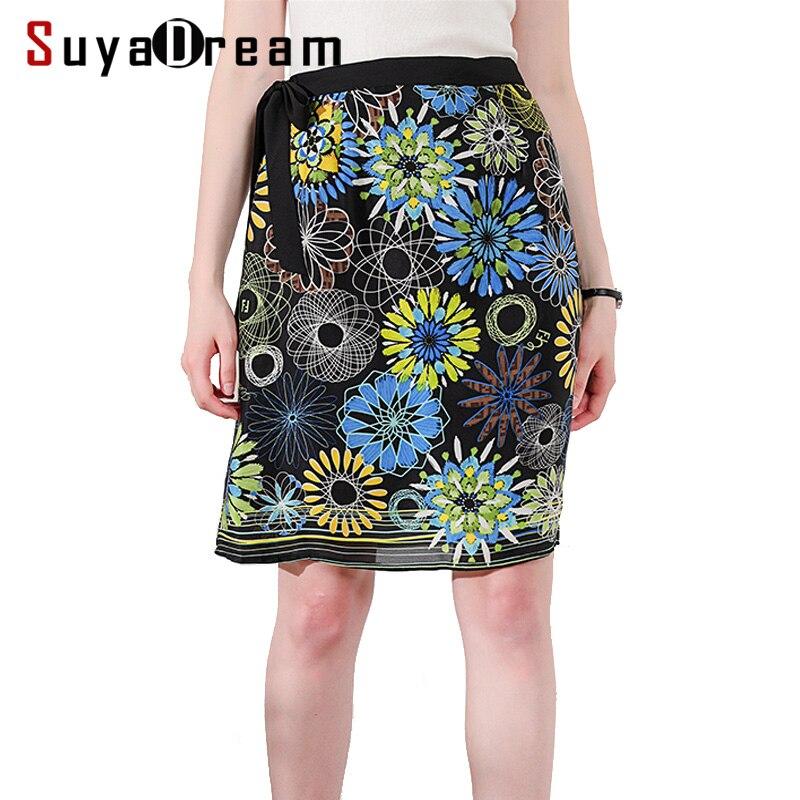 Women Silk Skirt 100 Real Silk Crepe Printed Skirts High Waist Knee Length 2019 Spring Summer