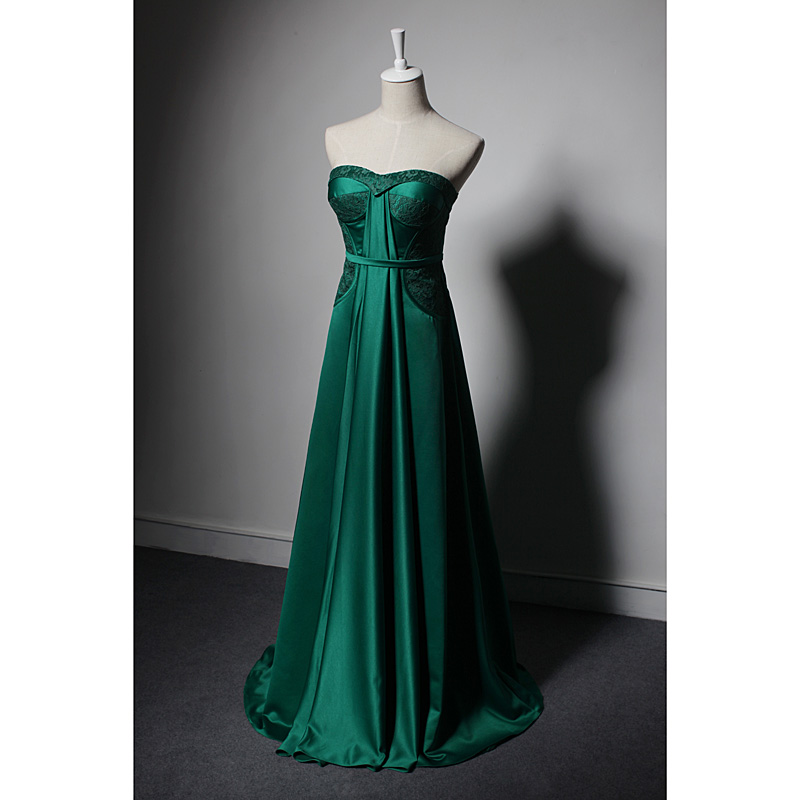 Classic summer elegant party night club dinner ball ceremony slim sleeveless strapless lace satin backless green long dress