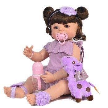 "23"" Full Silicone Reborn Girl Baby Doll Toy Lifelike handmade baby model dolls baby princess toddler bebe  bonecas for sale"