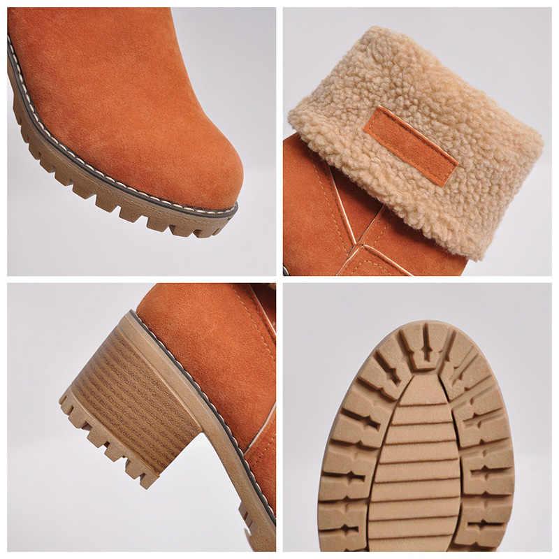LAKESHI Frauen Stiefel Weibliche Winter Schuhe Frau Pelz Warme Schnee Stiefel Platz Hight Heels Stiefeletten Frauen Schwarz Stiefel Botas größe 43