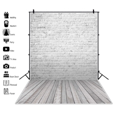 Vinyl Gray Wall Backgrounds For Photography Brick Wooden Floor Baby Party Pet Doll Portrait Photo Backdrops Studio