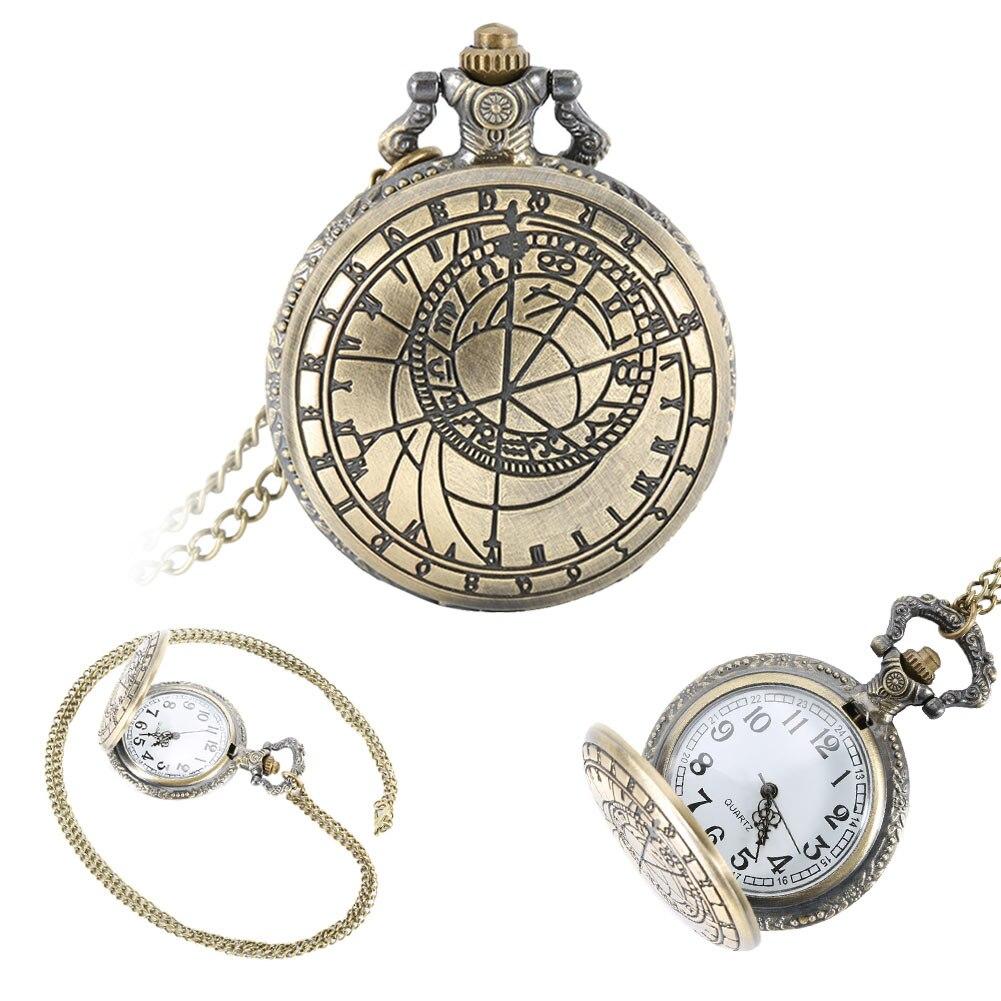 Necklace Watch Retro Steampunk Alloy Quartz Pocket Watch Roman Number Round Case Chain Clock Gifts LL@17