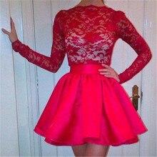 Heißer Verkauf Langarm Rot Graduierung Kleider High Neck A-linie Kurze Heimkehr Kleider Lace Kleider Für Besondere Anlässe Für Cocktail