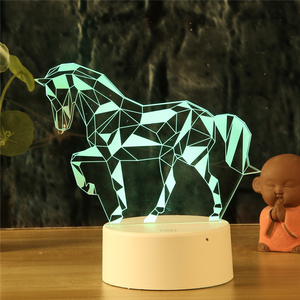 LED Sky Horse 3D Night Light Touch Table Desk Lamps 7 Colors Changing Unicorn Animals Decor Lights Fashion Line design for gifts