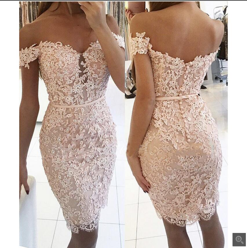 2019 Blushing Pink Lace Short   Bridesmaid     Dresses   Off the Shoulder Beaded Lace Appliques Fitted Women Wedding Party Gown Red