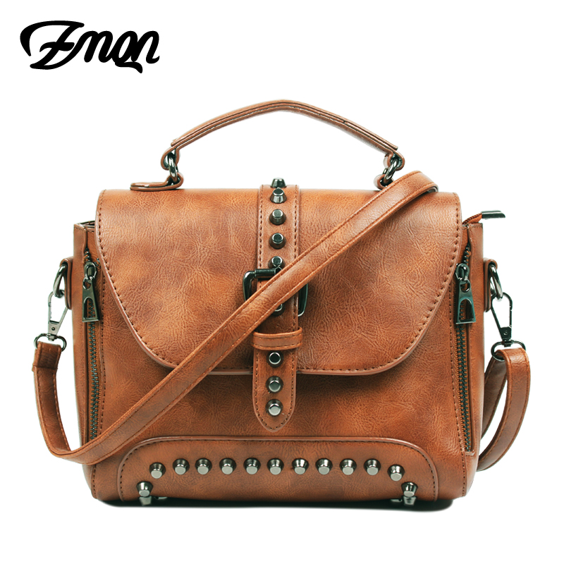 ZMQN Crossbody Bags For Women Messenger Bags 2017 Vintage Leather Bags Handbags Women Famous Brand Rivet Small Shoulder Sac A522 hot sale 2017 vintage cute small handbags pu leather women famous brand mini bags crossbody bags clutch female messenger bags