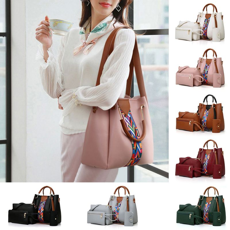 4PCS/Set Women Lady Leather Shoulder Bag Handbag Satchel Top Handle Bag Hobo Clutch Coin Purse Wallet