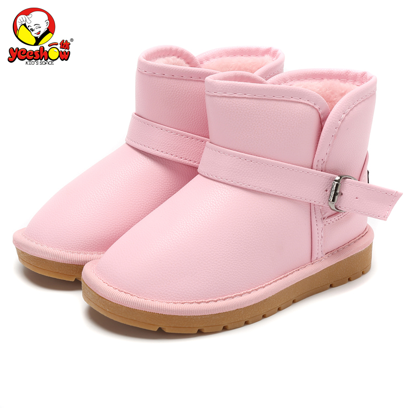2017 New Winter Brand Children Shoes PU Leather Waterproof Girls Snow Boots Cotton padded Kids Martin