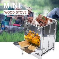 Stainless Steel Foldable Outdoor Camping firewood Stove for Home Picnic BBQ Outdoor stove Equipment for Camping Riding