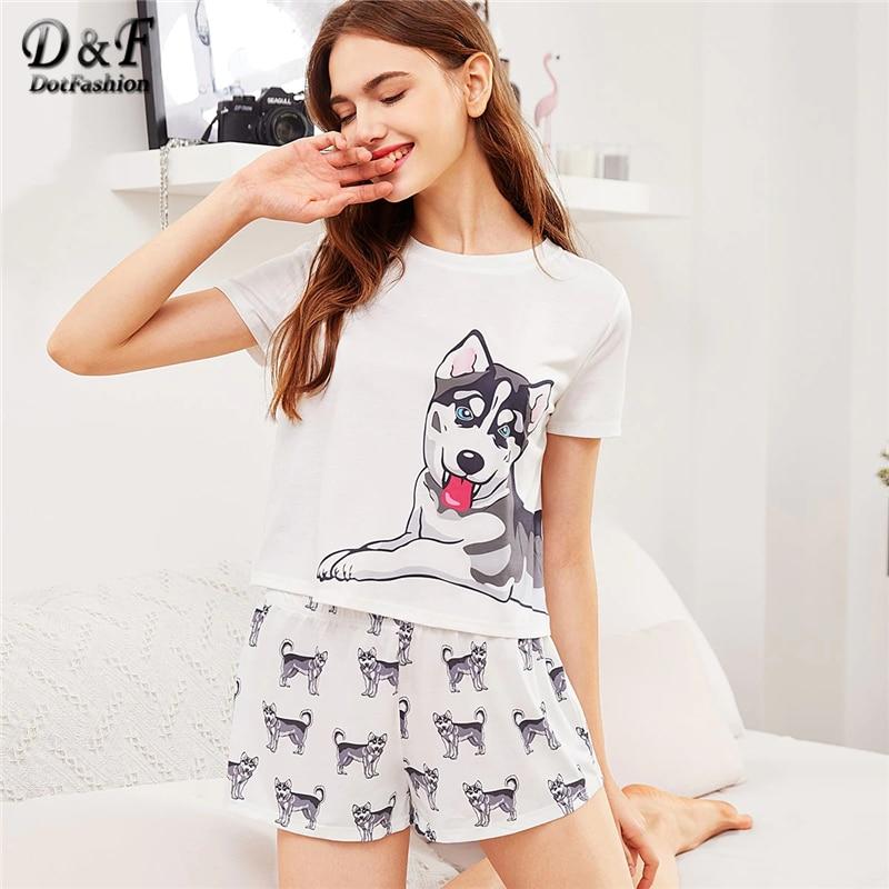 Dotfashion Cartoon Dog Print Tee With Shorts   Pajama     Set   2019 Summer   Pajamas   For Women Casual Short Sleeve Ladies Sleepwear   Set
