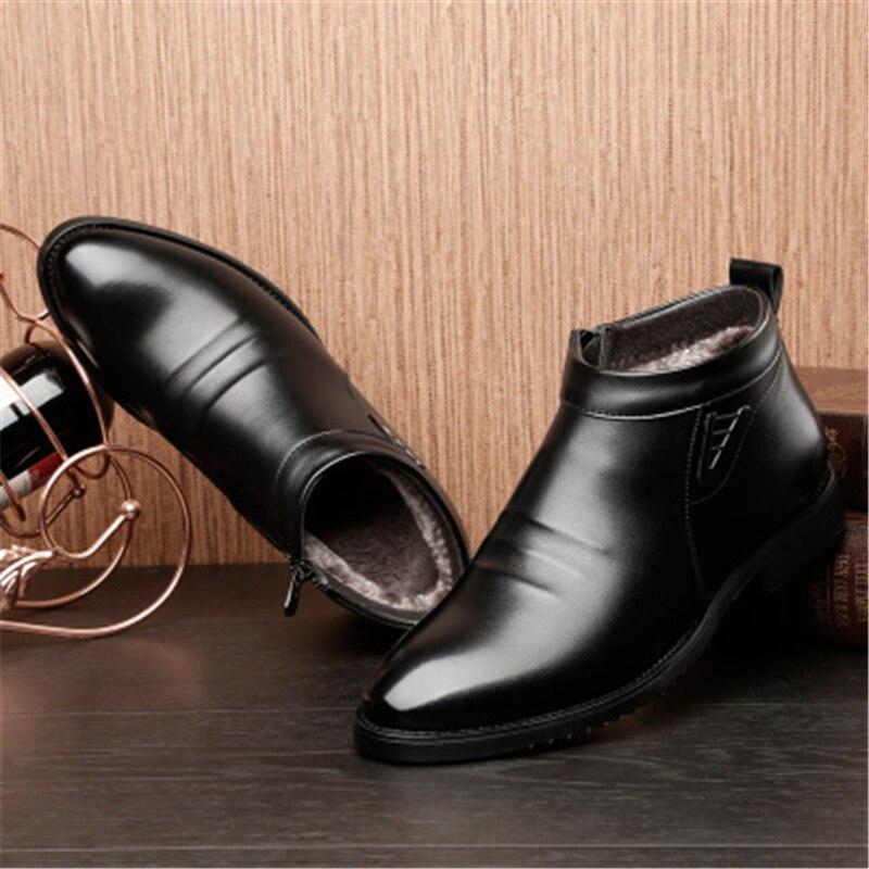 De Neige Dépérir Bout Noir Cheville En Rembourré marron Mode Pointu Cuir Mâle Hommes Coton Peluche 02c Chaud Air Chaussures Bottes Plein Martin 7qv7rgUxw