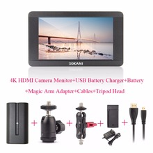 Sokani SK-5 5» 4K HDMI On-Camera Monitor for Sony Panasonic Cameras Monitor+Battery+USB Battery Charger+Magic Arm Adapter+Cable