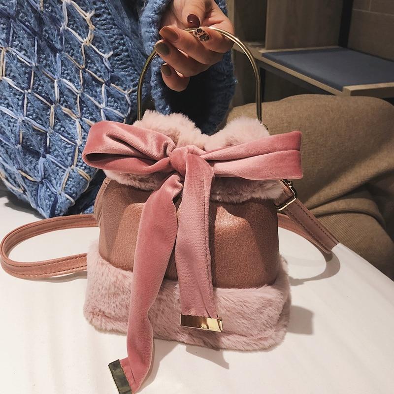 Women\'S Designer Handbag Quality PU Leather Ladies Portable Bucket Bag Soft Plush Tote Bag Bow Shoulder Messenger Bags