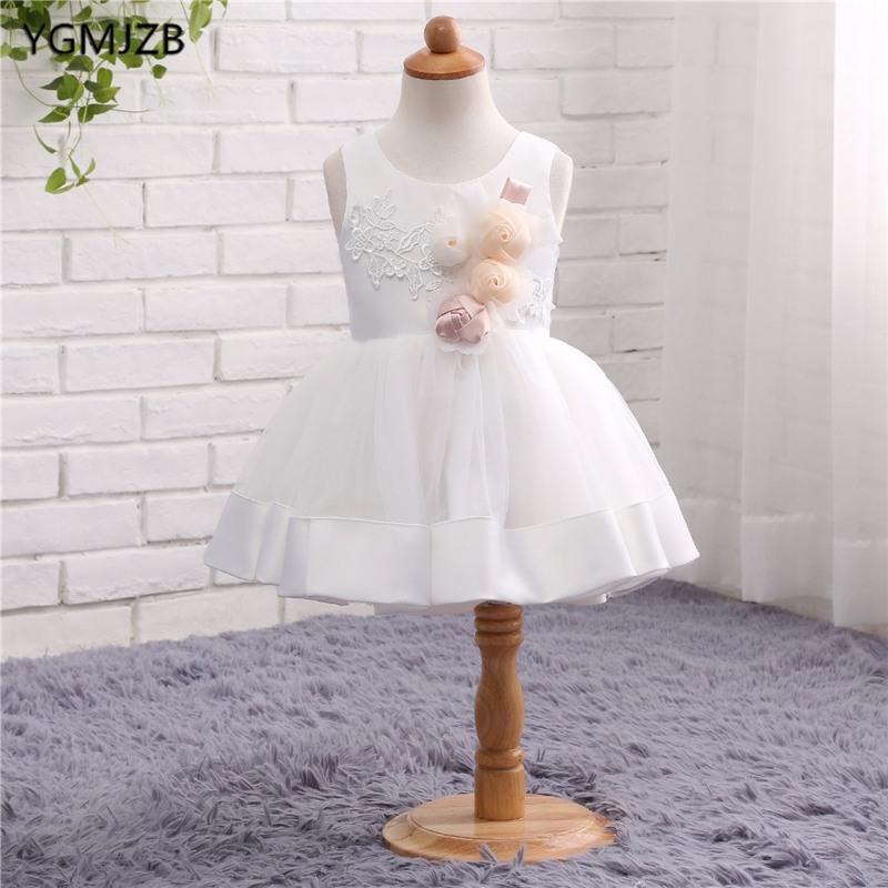Lovely White   Flower     Girl     Dresses   for Weddings Tulle   Flowers   Pageant Ball Gown Holy Communion   Dresses   Prom   Dress   Evening Gown