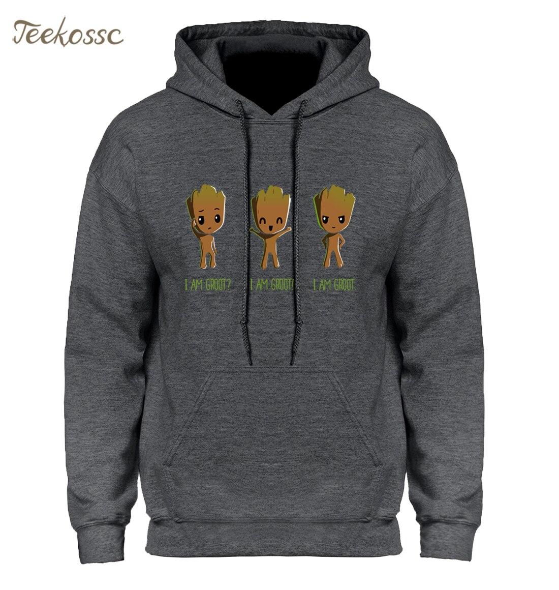 GROOT Hoodie Men Anime Baby Pop I AM Groot Hoodies Hipster Harajuku Hooded Sweatshirt New Brand Winter Autumn Cool Sportswear