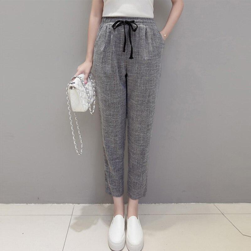 Summer Thin Women Ankle-Length   Pants   &   Capris   Cotton Linen Harem   Pants   Solid Elastic High Waist Casual Loose Linen   Pants   FP0726