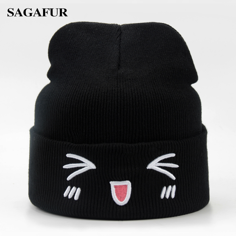 Sagafur Warm Soft Female Embroidery Cute Emoji Skullies Casual Outdoor Ski Beanies
