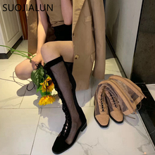 SUOJIALUN Fashion Brand Women Summer Knee Boots Mesh Breathable Women Gladiator Sandals Sexy Hollow Casual Lady Low Heels Boots недорого