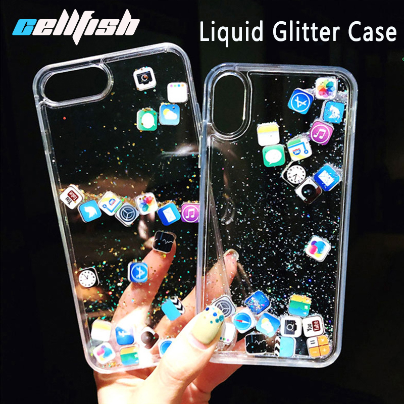 Glitter Liquid Sand Case for iPhone 7 Plus 7Plus 8 8Plus 6s 6Plus Dynamic Quicksand App Cover for iPhone X Xs Max Xr Coque ipone image