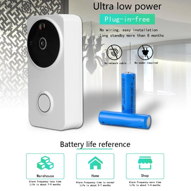 Smart Wireless Remote Visual DoorBell Ring WiFi IR Night Vision Camera Visual Phone Intercom Alarm Security Intercom DoorBell