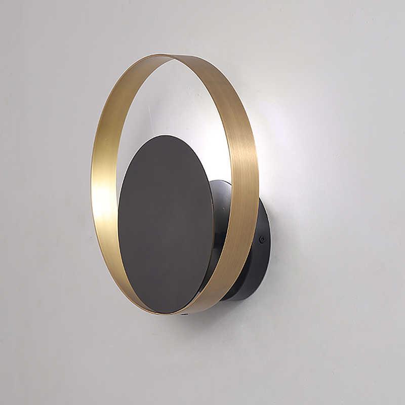 Современный латунный круглый настенный светильник для помещений, прикроватная тумбочка для спальни, коридора, медный светодиодный настенный светильник