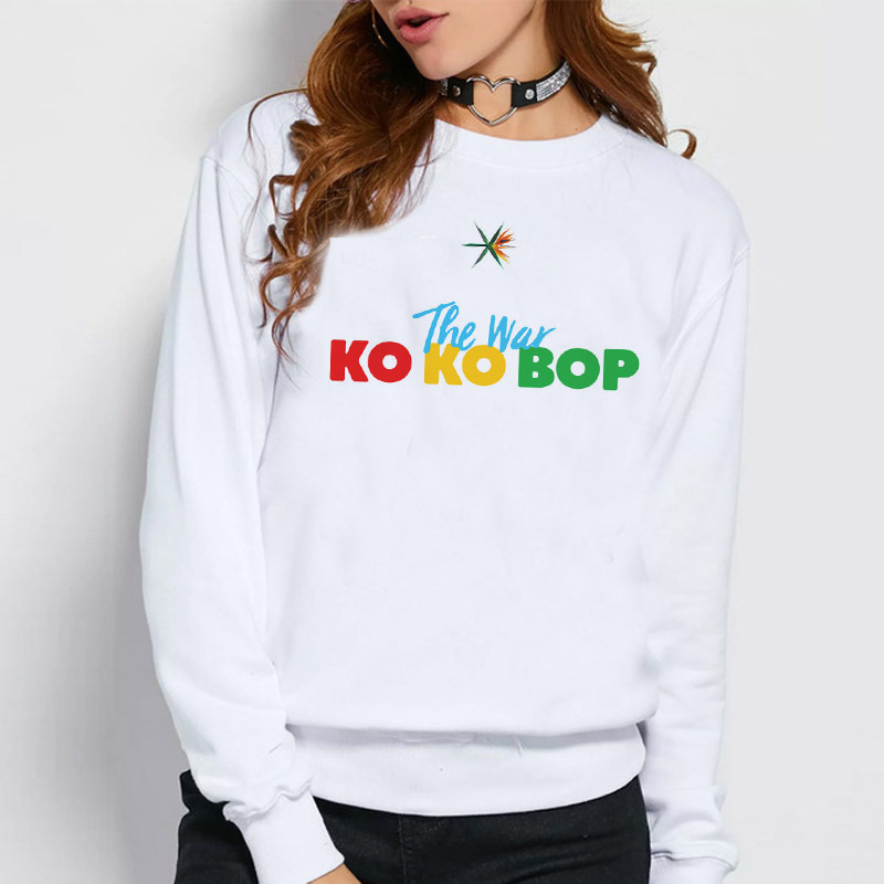Exo hoodies women k pop EXO THE WAR cartoon printing Casual o-neck female kpop hoodie Sweatshirt autumn tops