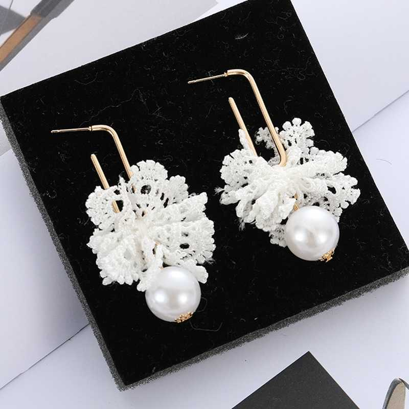 Female Black White Lace Drop Earrings For Women Jewelry  Imitation Pearl Crystal Lace Long Dangle Earrings Statement Earrings