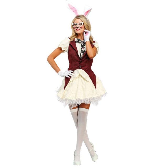 IREK Hot Halloween Costume Party Women Dazzling White Rabbit Cosplay Costume  Stage Performances Clothing