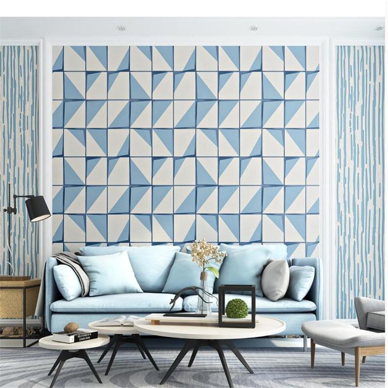 Beibehang Simple en trois dimensions carré treillis peau de cerf texture non-tissé papel de parede salon fond papier peint