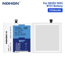 NOHON BT51  3150mAh High Capacity Lithium Polymer Rechargeable Phone Batteries Battery For Meizu MX5 M575M M575U MX 5Free Tools аккумулятор для телефона craftmann bt51 для meizu mx5 m575 dual sim m575m m575u mx5 dual sim mx5e