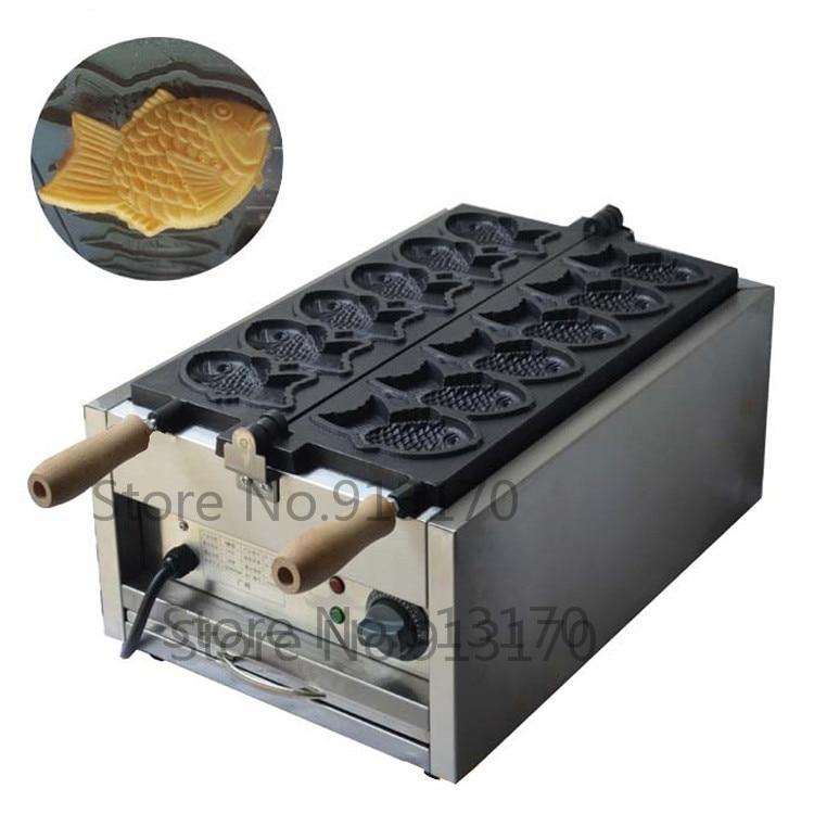 Commercial Electric Fish-shape Cake Machine Taiyaki Machine Taiyaki Waffle Maker with 6 Molds/pan