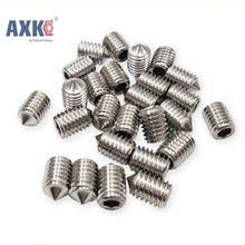 50Pcs DIN914 M3 M4 M5 304 Stainless Steel Grub Screws Cone Point Hexagon Hex Socket Set Screws AXK005