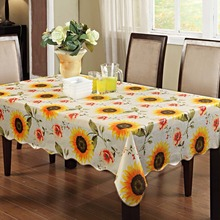 Sunflower Table cloth Waterproof & Oilproof Wipe Clean Vinyl+Flannel Tablecloth Dining Kitchen Cover