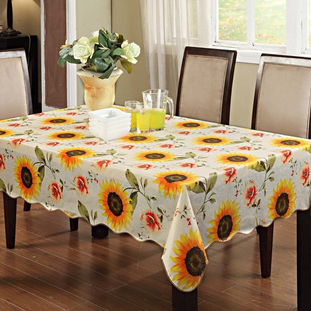 Sunflower table cloth waterproof oilproof wipe clean vinylflannel sunflower table cloth waterproof oilproof wipe clean vinylflannel tablecloth dining kitchen table cover workwithnaturefo