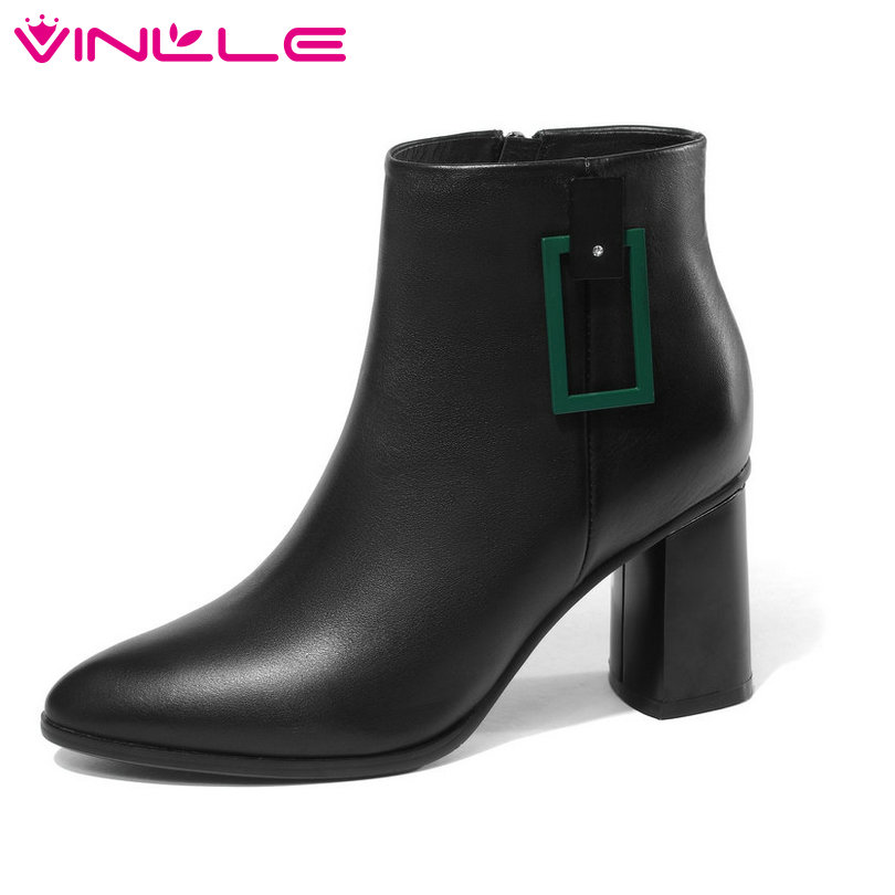 VINLLE 2019 Women Ankle Boots Fashion Cow Leather +PU