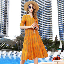 Dress Women Plus Size M-3XL 2019 Womens Spring Summer V-Neck Printed Short Sleeved Loose A-Line Casual Over The Knees