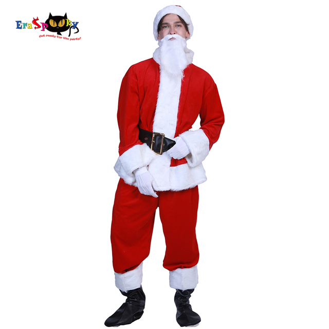 3935ee4b014 Eraspooky Plus size Deluxe Fur Christmas Costumes For Adult Santa Claus  Costume Men Classic Santa Outfit Belly Carnival Cosplay