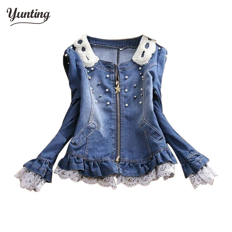 free shipping 2019 Best selling!!wholesale and retail ladies lace jeans coat pearl collar women denim jacket female cowboy wear