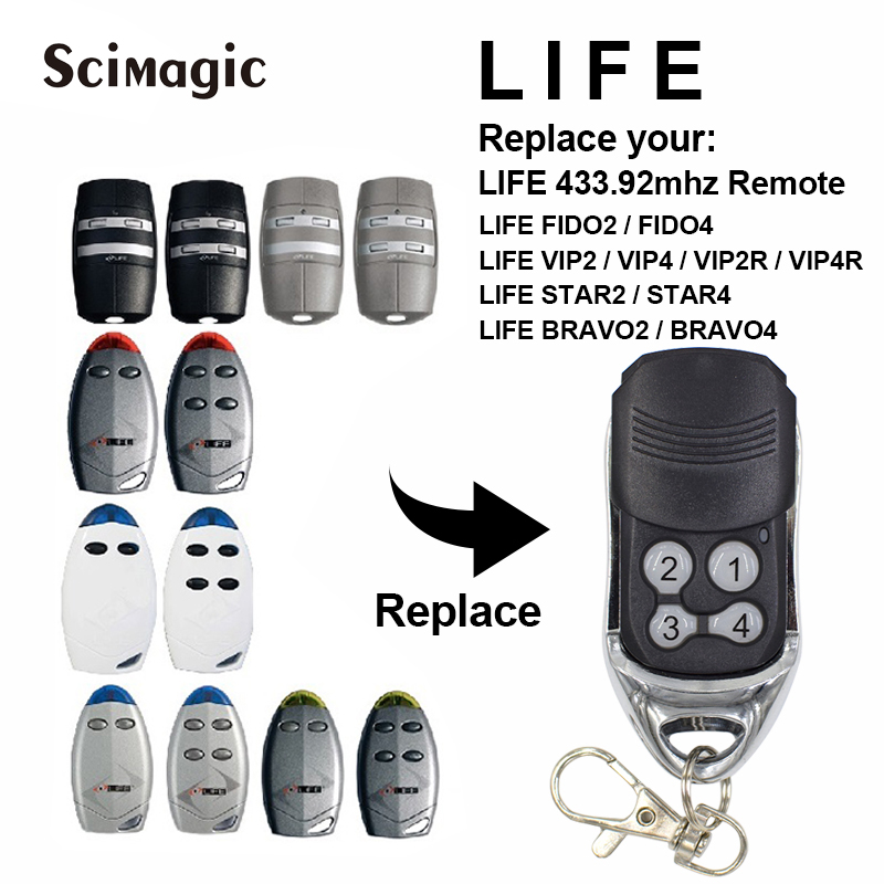 LIFE Garage Gate Remote Control LIFE FIDO2 VIP2 VIP4 STAR2 BRAVO4 Rolling Code 433,92MHz Garage Command Handheld Transmitter