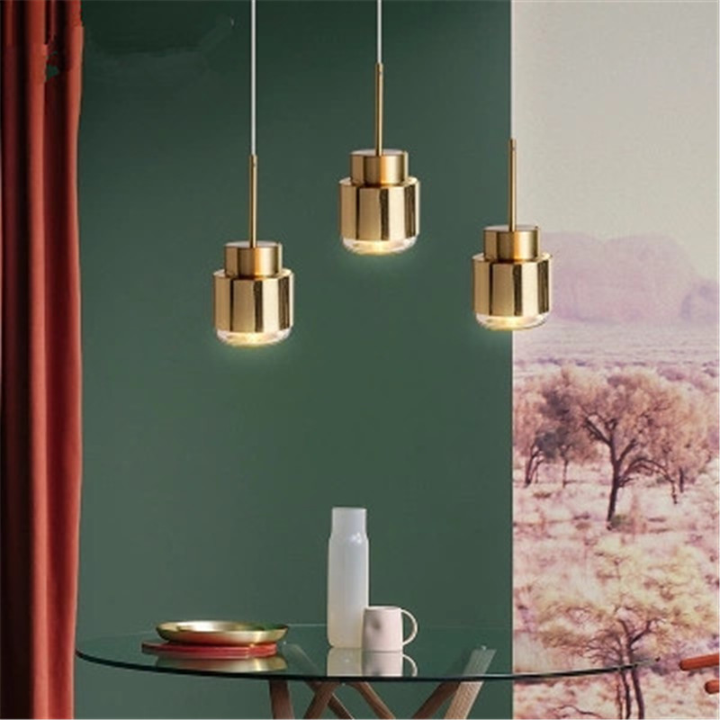 Nordic Gold Crystal Pendant Light Creative Bedroom Bedside Led Lamp Restaurant Study Bar Corridor Single Head