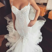 GEYATING Sexy Mermaid Wedding Dresses Court Train Backless