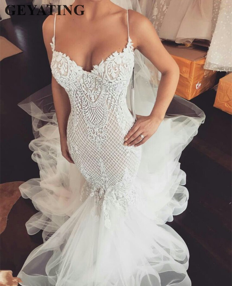 Sexy Spaghetti Straps Mermaid Wedding Dresses 2019 Luxury Beaded Sweetheart Tulle Court Train Backless Trumpet Wedding Gowns