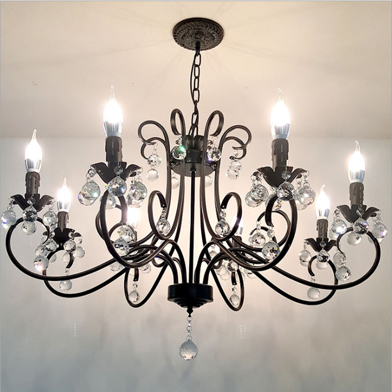 13421.89руб. 5% СКИДКА|Американский хрустальный светильник, простой светильник для спальни, гостиной, Европейский ретро светильник для свечей, индивидуальные кованые хрустальные люстры|Люстры| |  - AliExpress