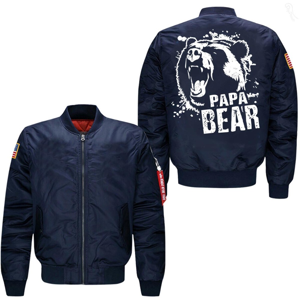 2019 hot spring autumn bomber jacket Papa Bear print mans flight jacket USA size  free shipping