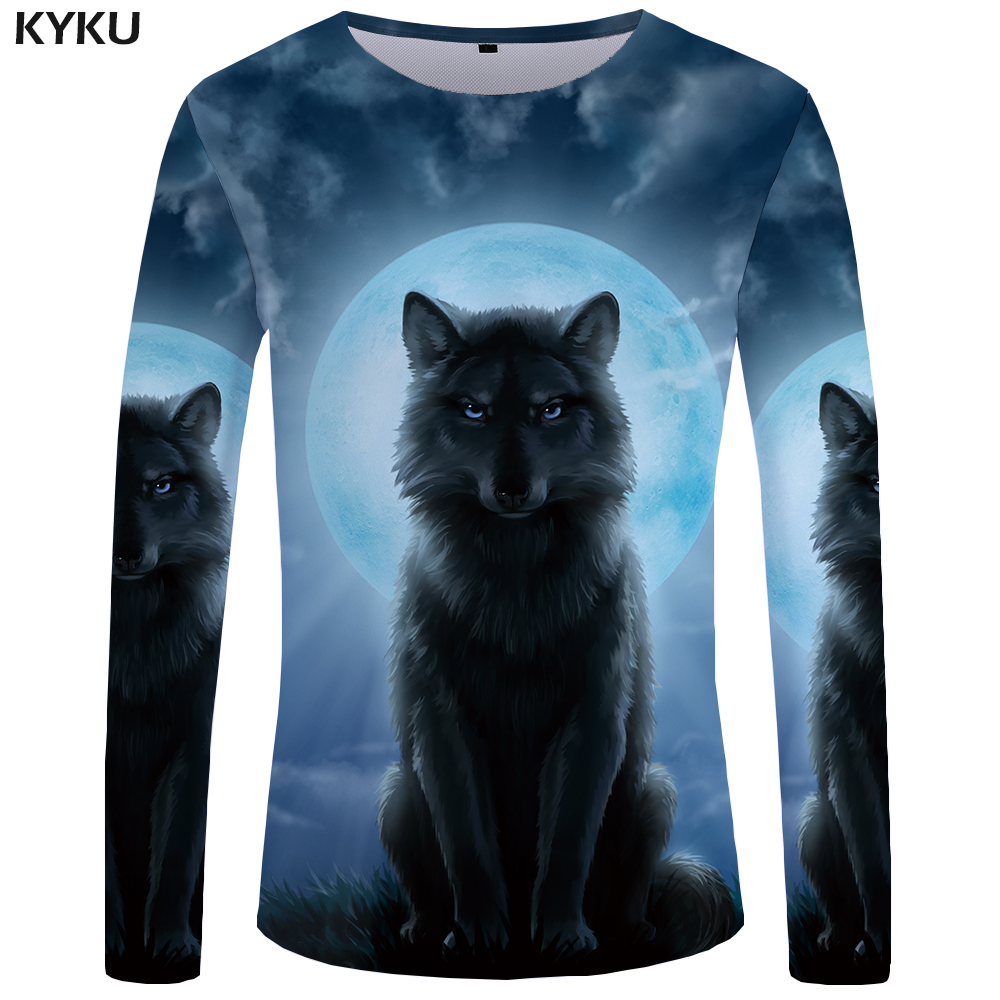 KYKU Wolf Long sleeve T shirt Moon Funny T shirts Grassland 3d T-shirt Cloud Tees Clothing Tshirt Men Rock Cool Man Japanese