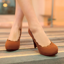 Hot sale! The new Big size 30-50 Fashion Pure color Women's shoes elegant Ultra high with flock high heels HQW-6355