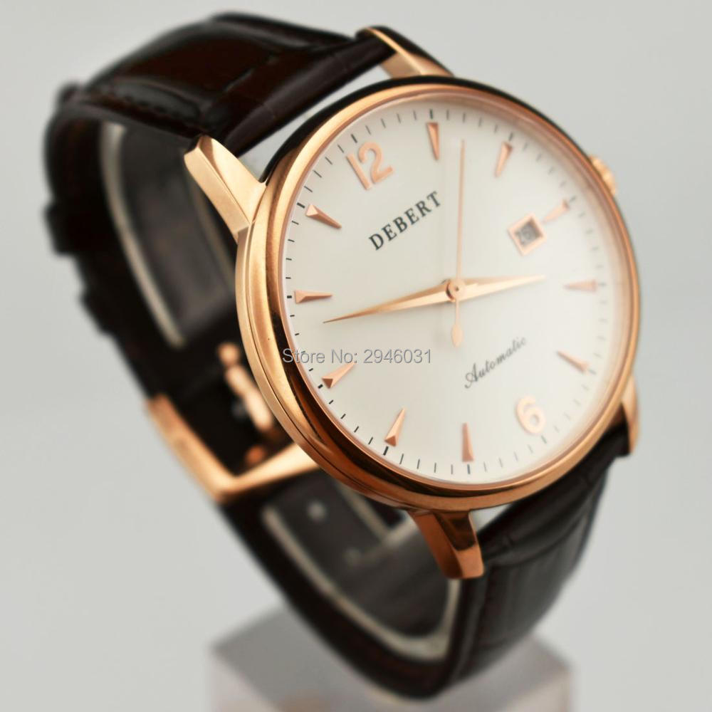sapphire glass Rose gold case 40mm steel automatic Day mens watch 2437